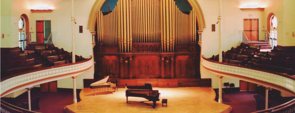 Alix Goolden Hall, Victoria Conservatory of Music, concert venue for EMSI concerts