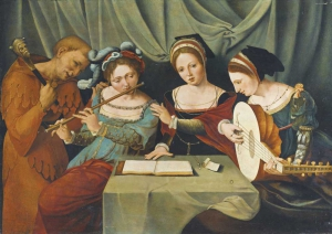 Master of the Female Half-lengths, Three Young Women Making Music with a Jester